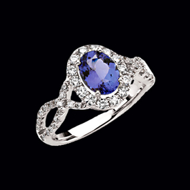Vibrant Tanzanite Diamond Ring