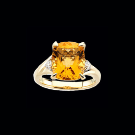Checkerboard Citrine & Diamond Ring