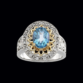 Filigree Gemstone Diamond Ring