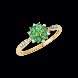 Pretty Tsavorite Garnet & Diamond Ring