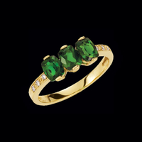Chrome Diopside and Diamond Ring