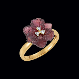 Carved Brazilian Garnet & Diamond Ring