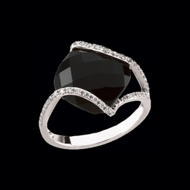 White Gold Onyx & Diamond Ring