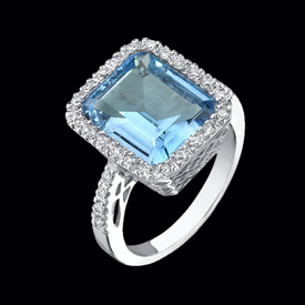 Lovely Diamond and Blue Topaz Ring