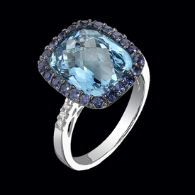 Blue Topaz, Sapphire, and Diamond Ring
