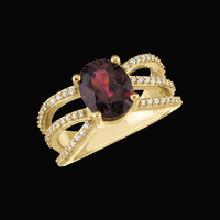 Diamond Rhodolite Garnet Ring