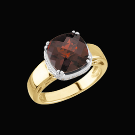 Two Tone Garnet Diamond Ring
