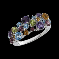 Multigemstone White Gold Ring