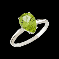Peridot Pear White Gold Ring