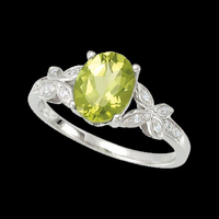 Vibrant Peridot White Gold Ring