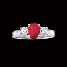 Platinum Ruby & Diamond Ring