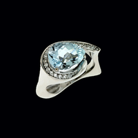 Contemporary Aquamarine Ring