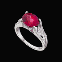 White Gold Diamond Garnet Ring