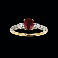 14k Gold Diamond Ruby Ring