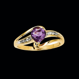 Pretty Amethyst Heart Ring