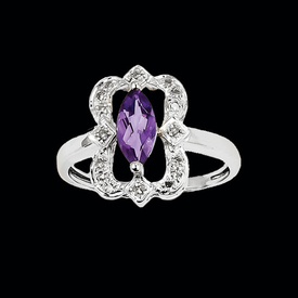 White Gold Amethyst Framed Ring