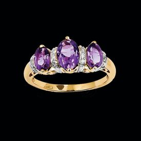 Amethyst & Diamond Three Stone Ring