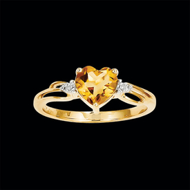 Citrine Heart Gold Ring