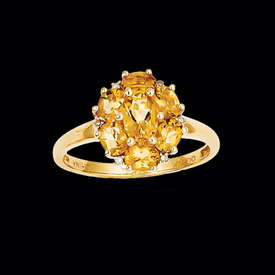 23Y11539CI75 Citrine Cluster Ring