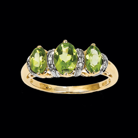 Two Tone Peridot Three Stone Ring