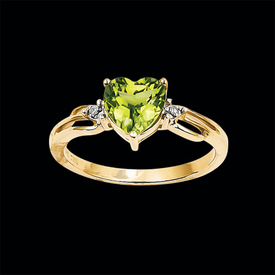 Peridot Heart Gold Ring