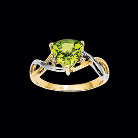 Peridot Two Tone Trillion Ring
