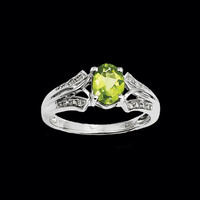 Fancy White Gold Peridot Ring