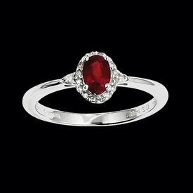 White Gold Ruby Diamond Ring