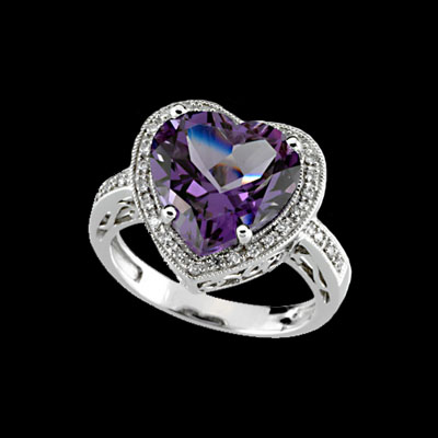 Amethyst Heart Shaped Diamond Ring