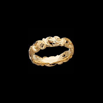 14k Gold openwork design hand engraved Wedding Band