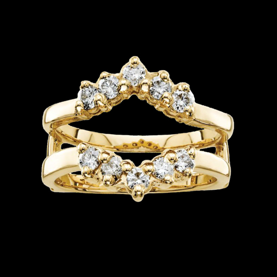 Blue Sapphire Ring Guards In Yellow Gold