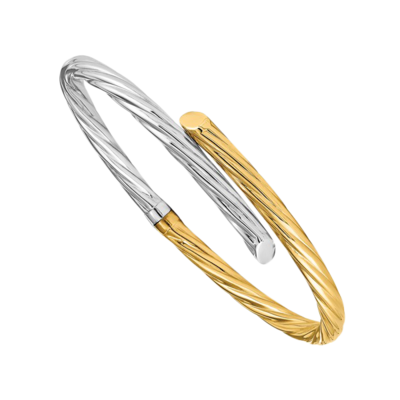 Twisted Two Tone Bypass Bangle Bracelet