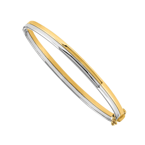 14k Two Tone Gold Hinged Bangle Bracelet