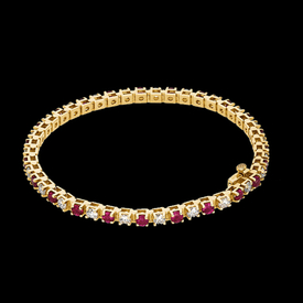 Gemstone Bracelets Ruby & Diamond Tennis Bracelet