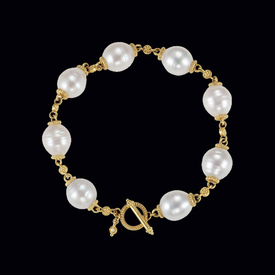 Gold and Large Pearl Bracelet