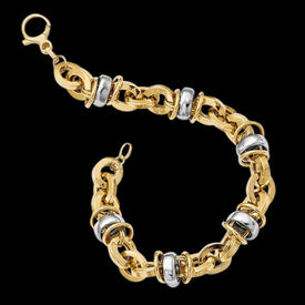 14k Two Toned Fancy Bracelet