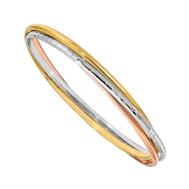 Bangle Bracelets Tri-Color Textured & Polish Bangle Bracelet