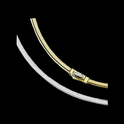 14kt Gold 4mm Reversible Omega Chain