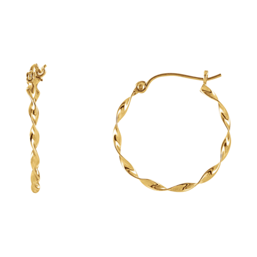 Small 14k Gold Twisted Hoops