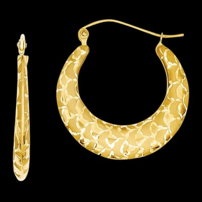 14kt Gold Laser Cut Hoop Earrings