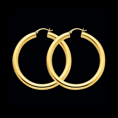 14kt Gold Classic 5mm Gold Tube Hoops