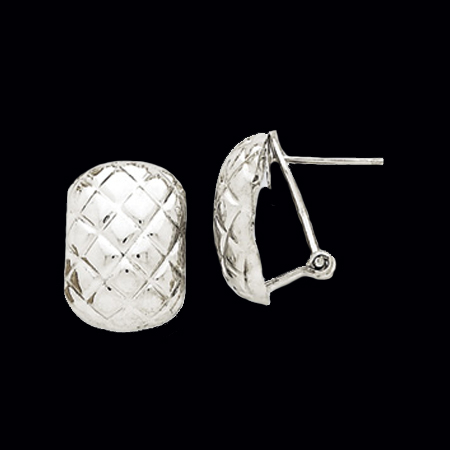 Quilted White Gold Omega Back Earrings