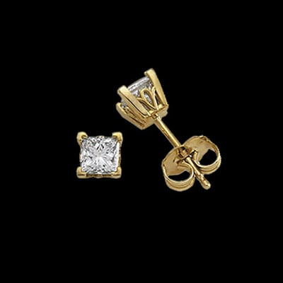 Princess Diamond Scroll Studs