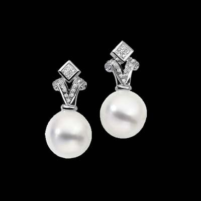 Diamond South Sea Pearl Earrings