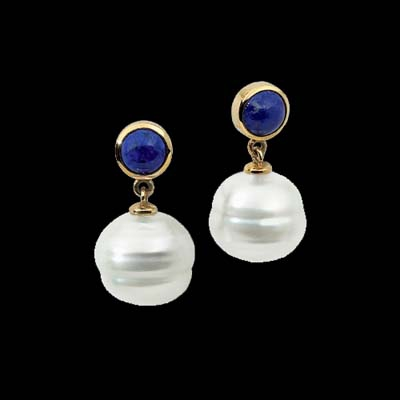 Blue Lapis South Sea Pearl Earrings