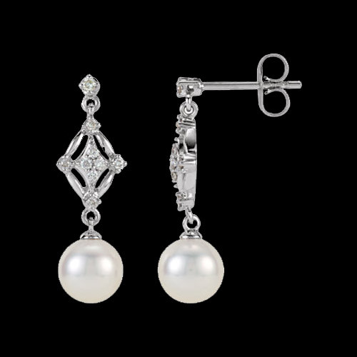 Fancy Diamond & Pearl Dangle Earrings