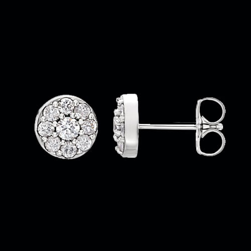 Platinum Diamond Cluster Earrings