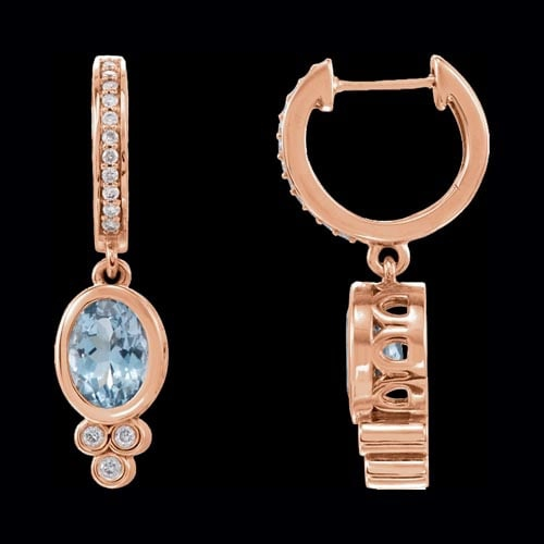 Gold Aquamarine and Diamond Earrings