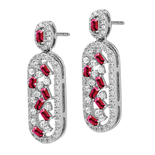 14K White Gold Diamond Earrings with Gemstone Accents