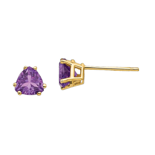 14k Gold Trillion Amethyst Earrings